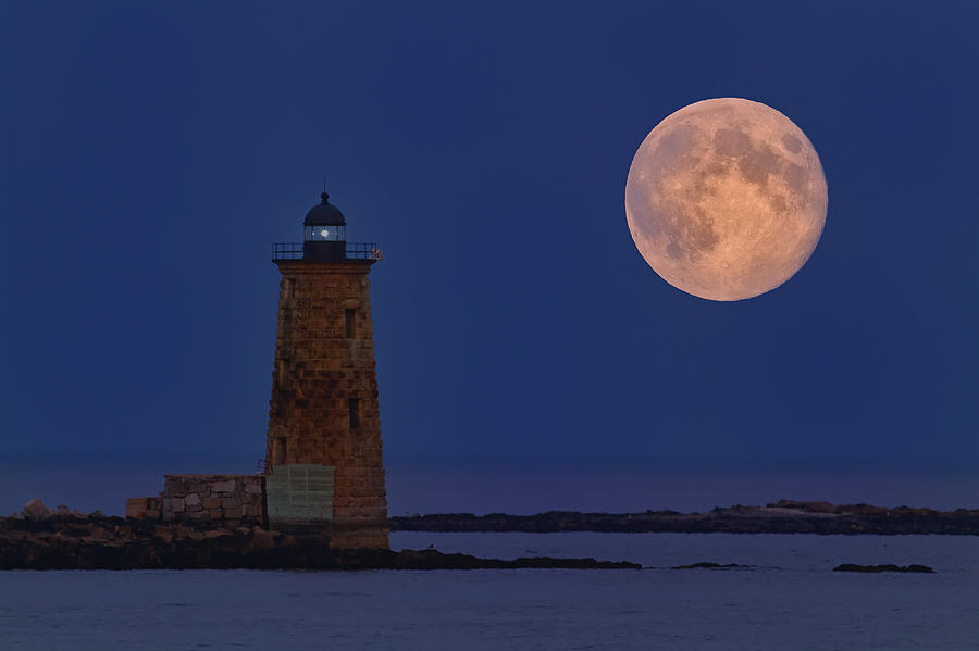 Lighthouse Photograph - Blue Moon Over Whaleback Lighthouse by Dale J Martin