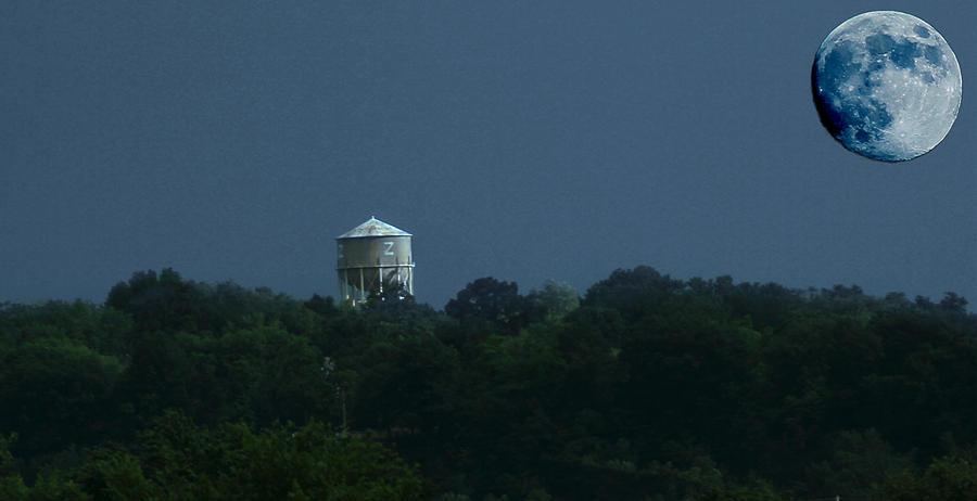Blue Moon Photograph - Blue Moon Over Zanesville Water Tower by David Yocum