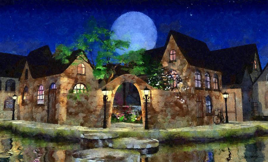 Village Digital Art - Blue Moon Painted by Cynthia Decker