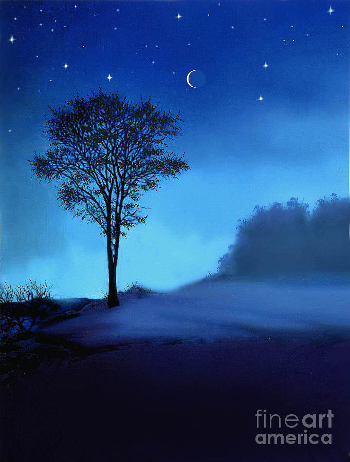 Landscape Painting - Blue Moon by Robert Foster