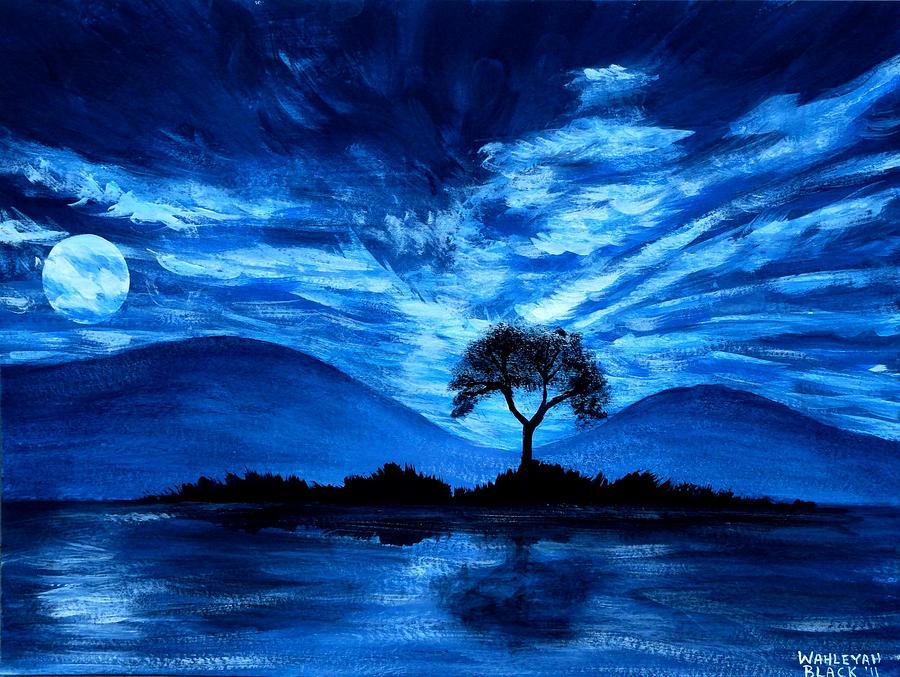 Blue Painting - Blue Moon by Wahleyah Black