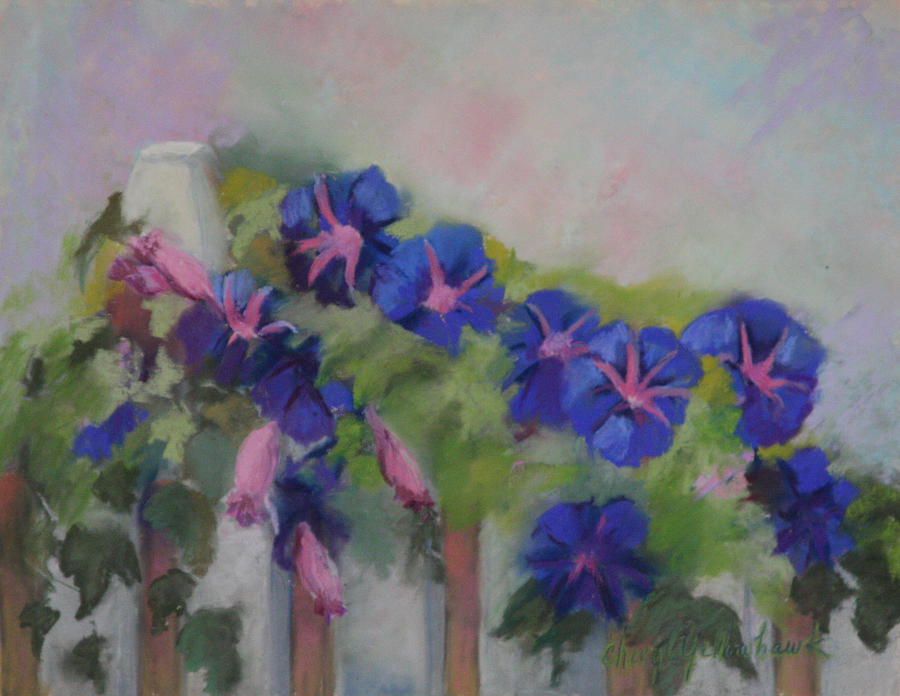 Morning Pastel - Blue Morning Glories  by Cheryl Yellowhawk