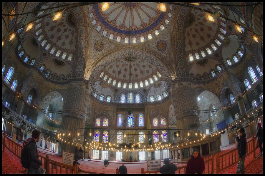 Blue Mosque Photograph - Blue Mosque Interior by Joan Carroll