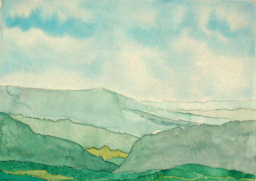Landscape Painting - Blue Mountain 1 by Anne Kinsey