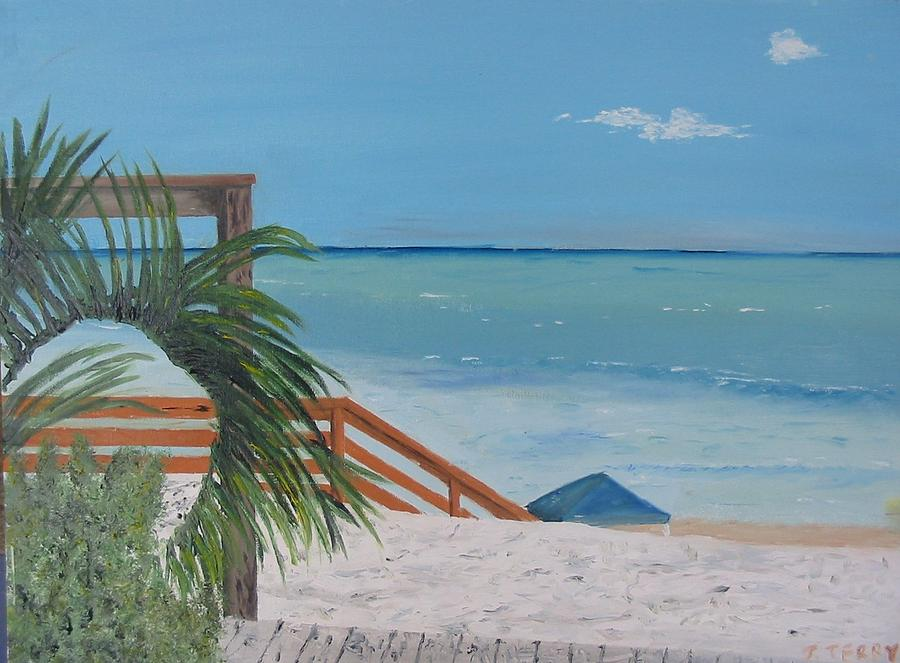 Seascape Painting - Blue Mountain Beach Dune by John Terry