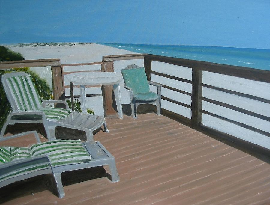 Seascape Painting - Blue Mountain Beach by John Terry