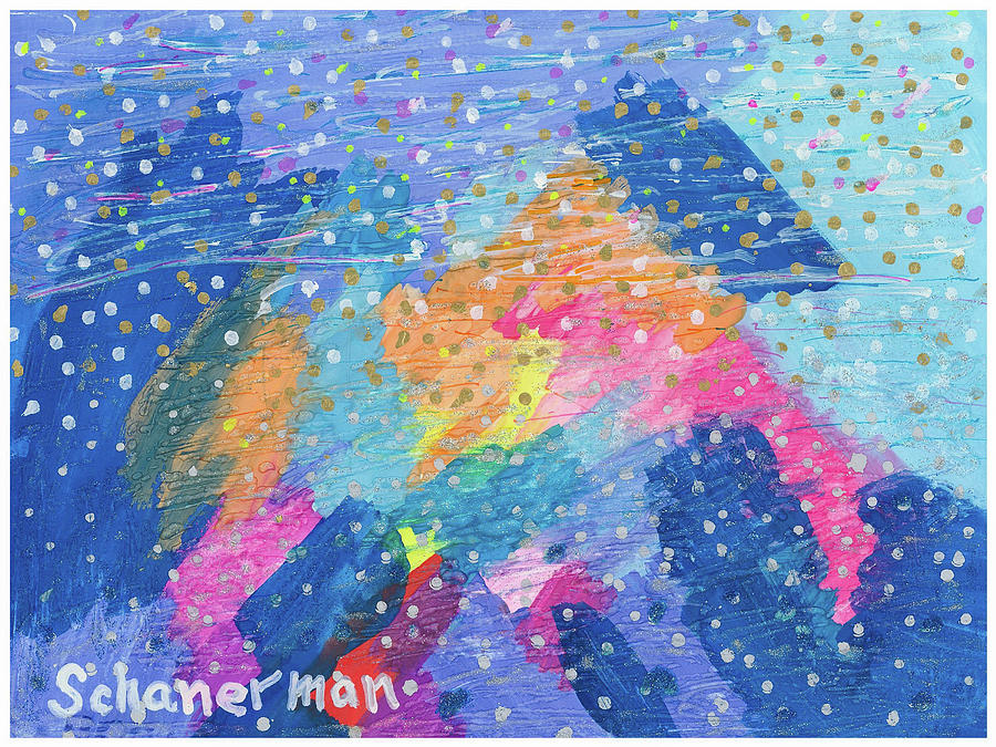 Abstract Painting - Blue Mountain Mayhem by Susan Schanerman