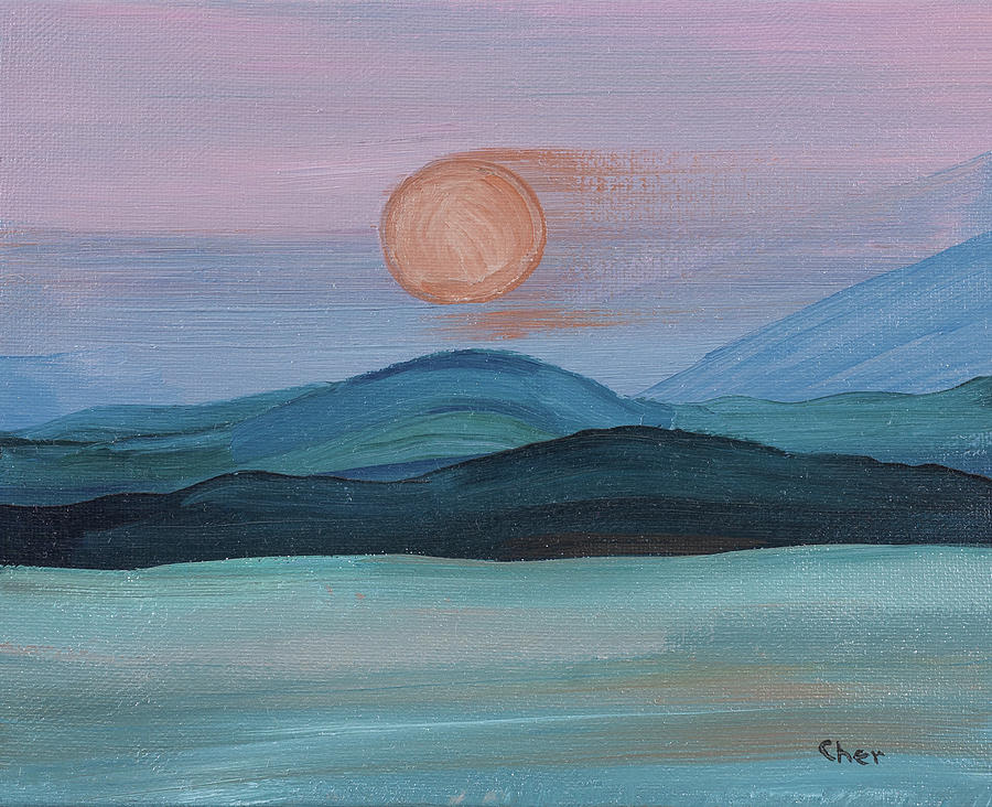 Mountains Painting - Purple Mountains at Sunset by Cheryl Phillips