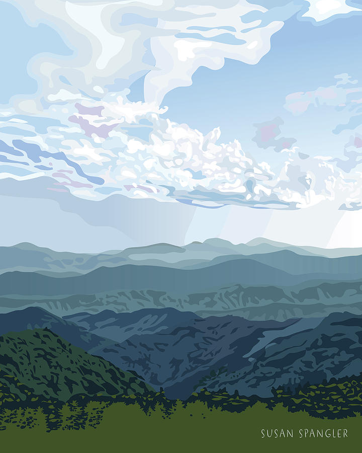 Landscape Digital Art - Blue Hills by Susan Spangler