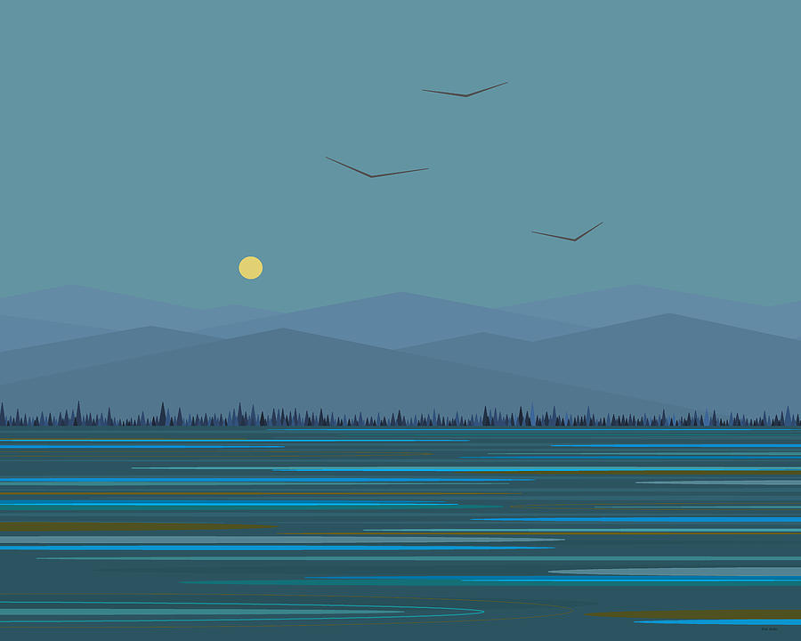 Blue Mountains Digital Art - Blue Mountains - With Birds by Val Arie