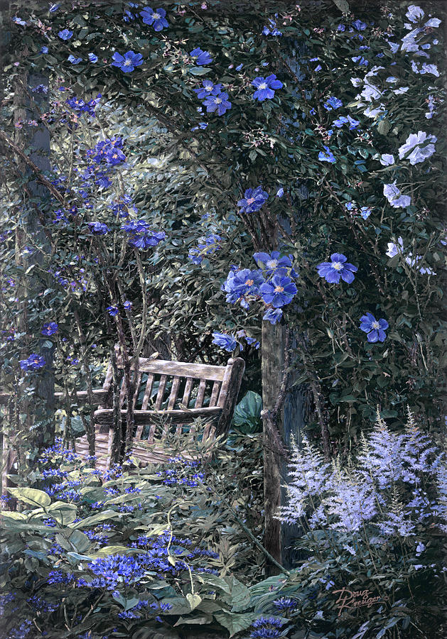 Blue Muted Garden Respite Painting by Doug Kreuger