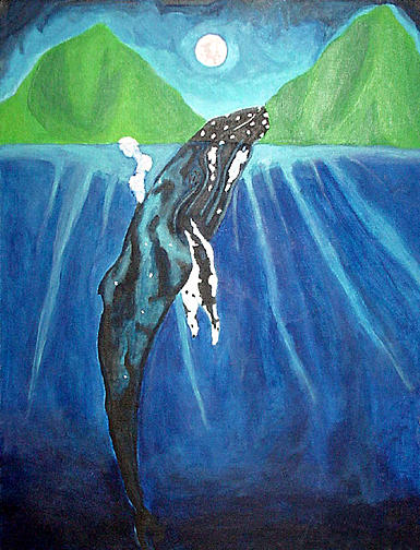 Humpback Whale Painting - Blue Mystery by Jody Brusca