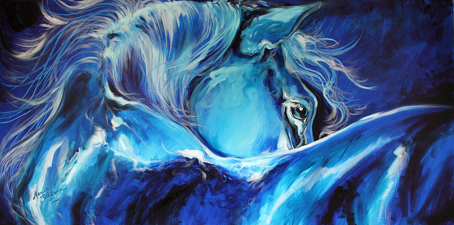 Blue Night Abstract Equine Painting