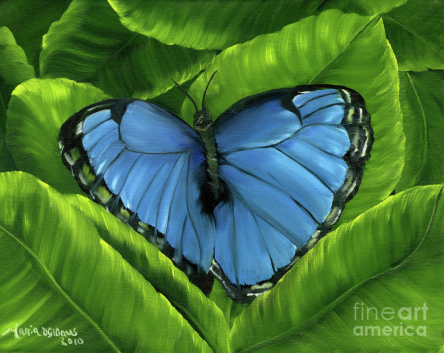 Blue Painting - Blue Night Butterfly by Maria Williams