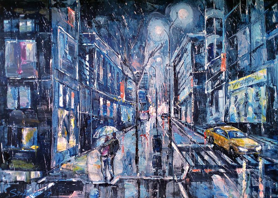 Cityscape Painting - Blue Night II by Stefano Popovski