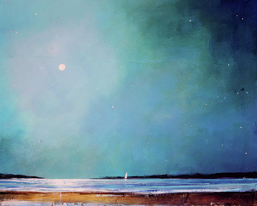 Seascape Painting - Blue Night Sky by Toni Grote
