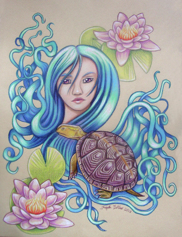 Turtles Drawing - Blue Nova by Angela De Riso