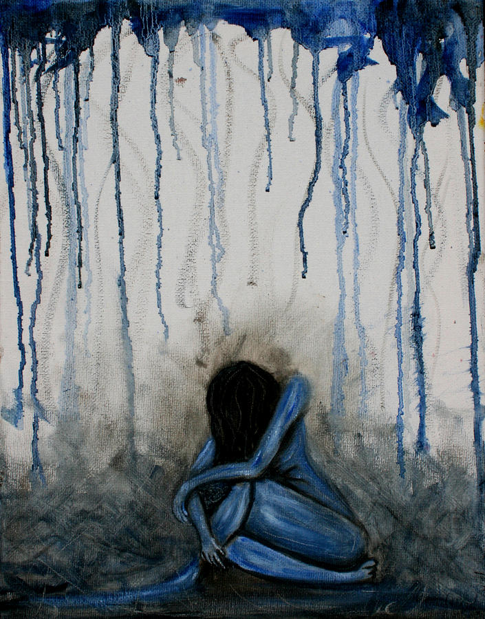 Blue Nude Painting By Hannah Curran