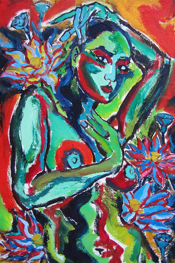 Blue Nude With Blue Flowers Painting by Daniel Petrov