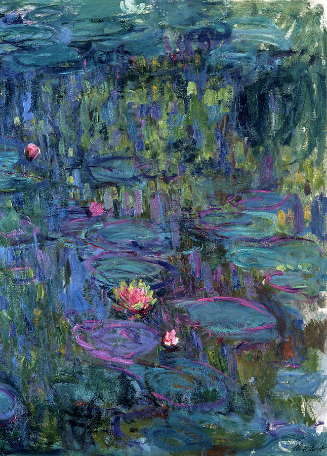 Japanese Garden Painting - Blue Nympheas by Claude Monet