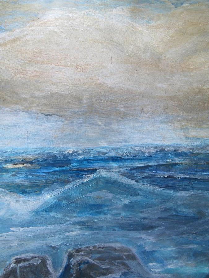 Ocean Painting - Blue Ocean With Rocks by Denice Palanuk Wilson