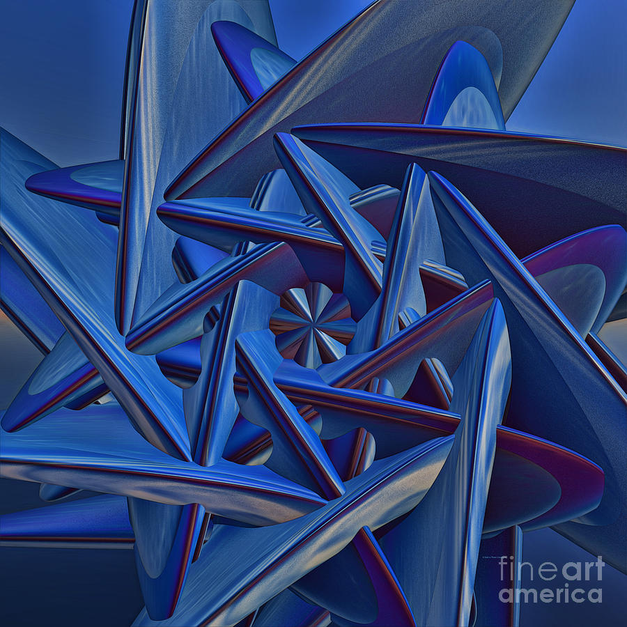 Abstract Painting - Blue On Blue by Deborah Benoit