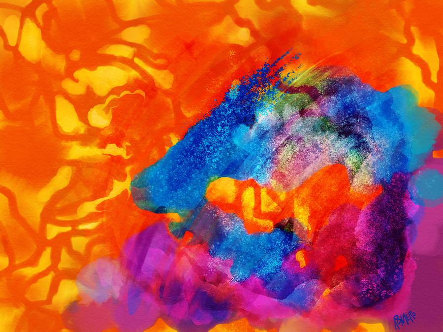 Blue Digital Art - Blue On Orange by Antonio Romero