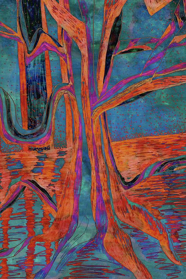 Blue-Orange Warm Dusk River Tree by Gecko Joy