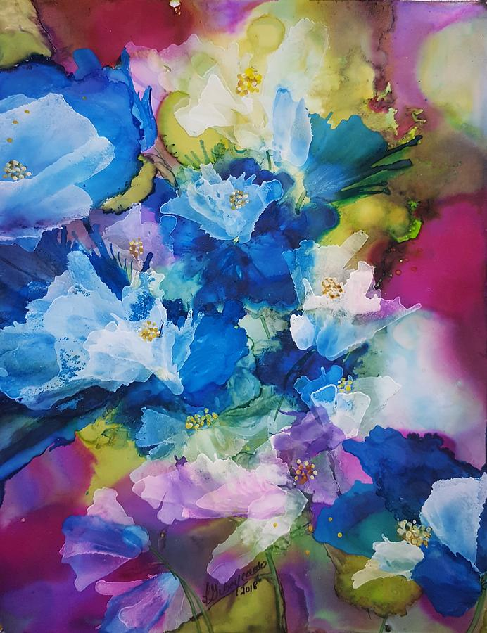 Blue Painting - Blue Orchids by Lucy Giboyeaux by Lucy Giboyeaux