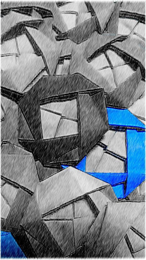 Rose Digital Art - Blue origami rose by Kumiko Izumi