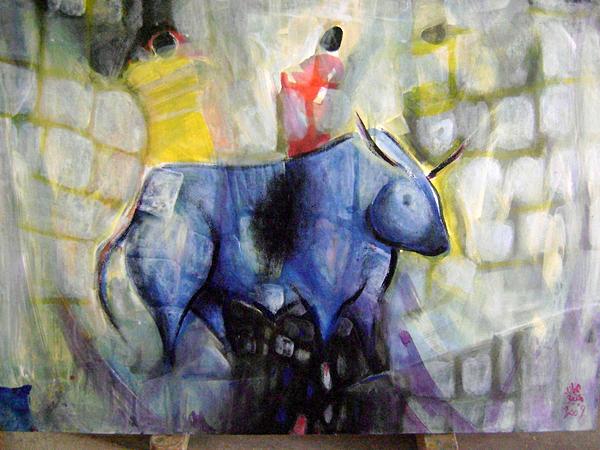 Rock Drawing - Blue Ox by Adnan Meatek