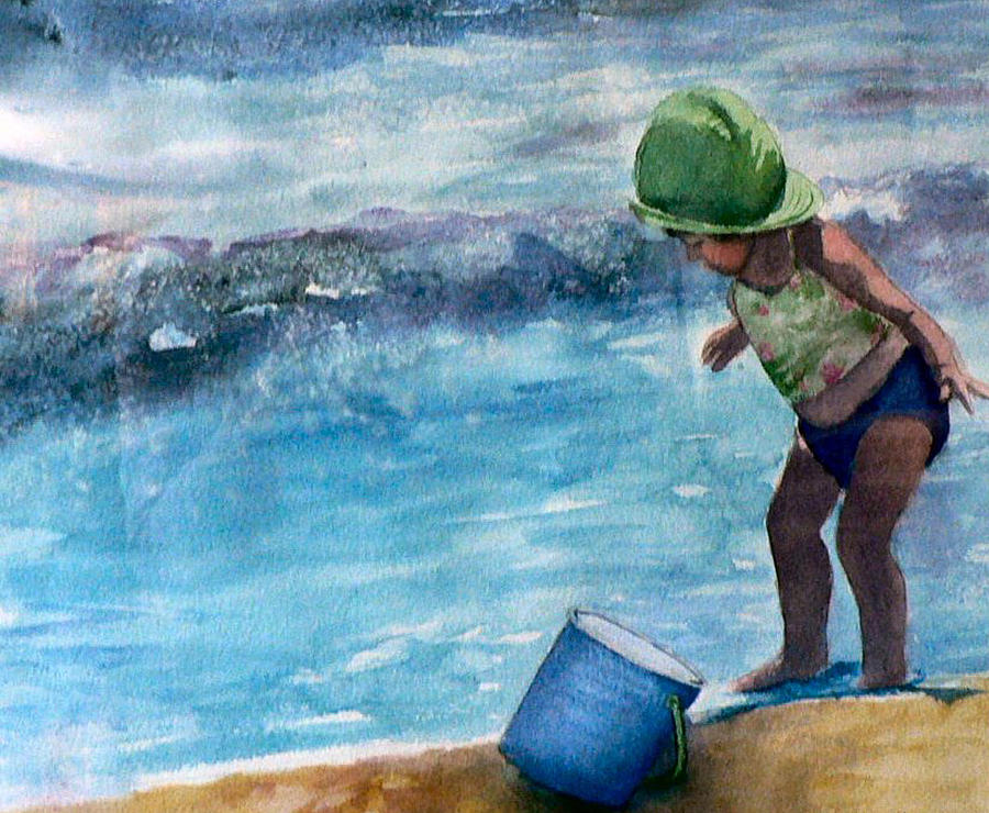 Girl Painting - Blue Pail by Lynne Atwood