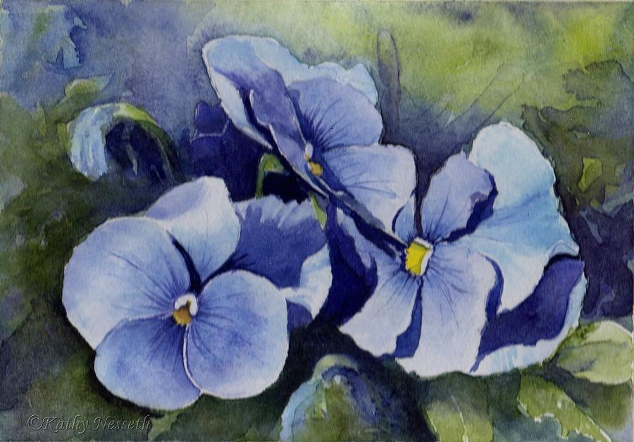 Pansy Painting - Blue Pansies by Kathy Nesseth