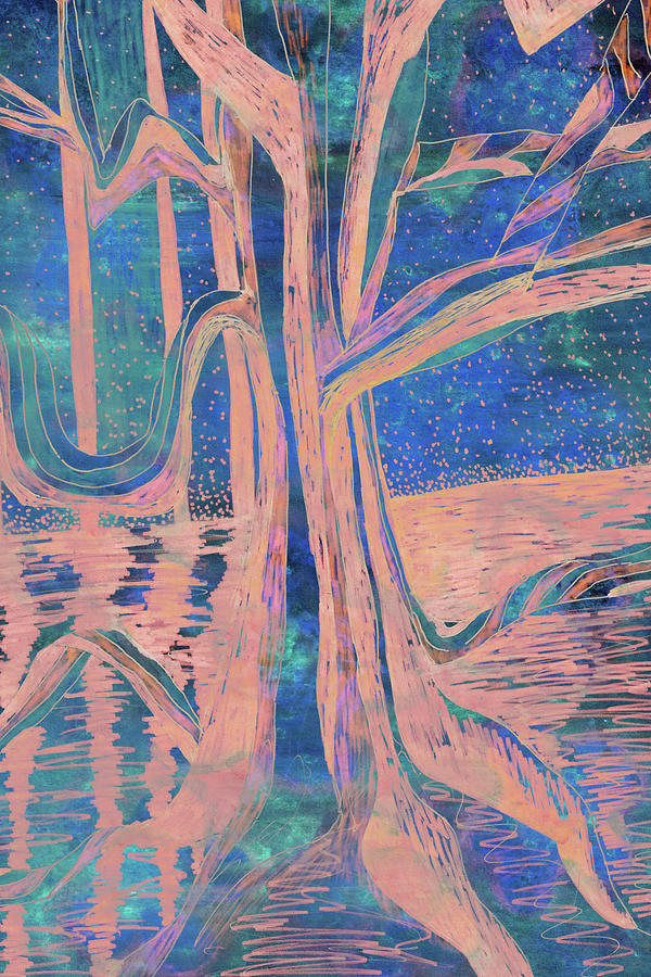 Blue-Peach Dawn River Tree by Gecko Joy