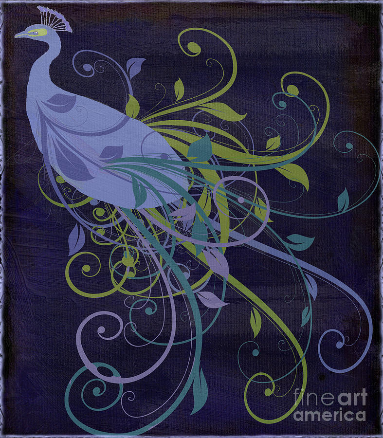 Blue Peacock Art Nouveau Painting