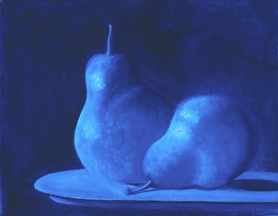 Still Life Painting - Blue Pears by Bart  Dluhy