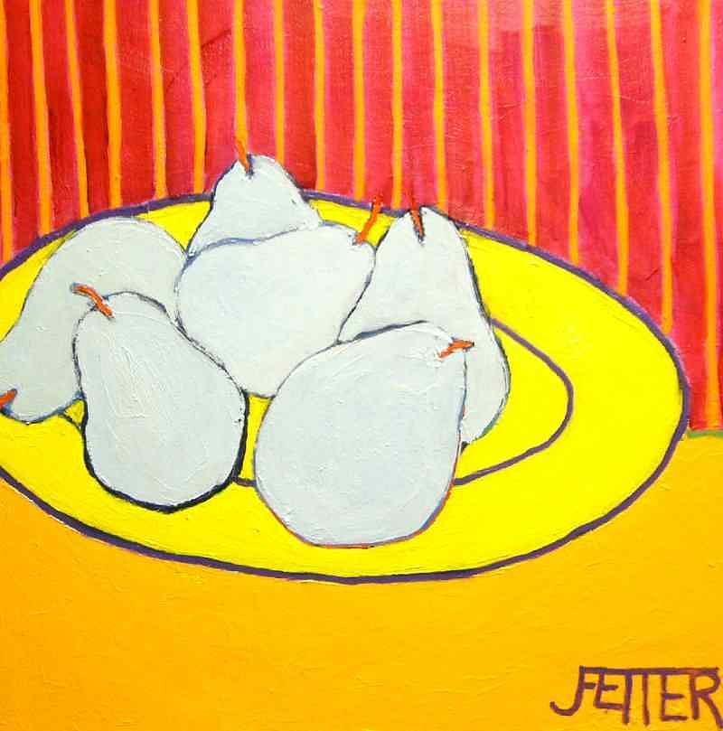 Still Life Painting - Blue Pears by Joan Fetter