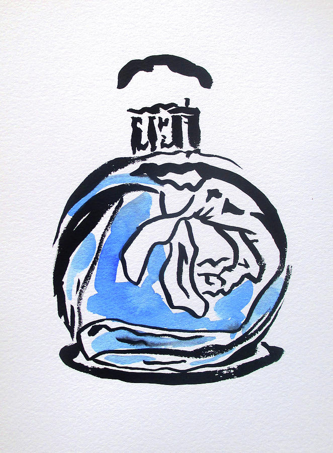 Perfume Painting - Blue Perfume Bottle by Sacha Grossel