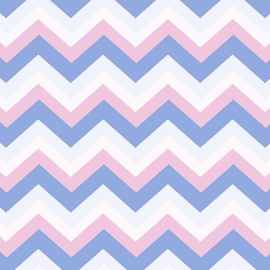 Blue Pink Chevron Pattern Mixed Media By Christina Rollo