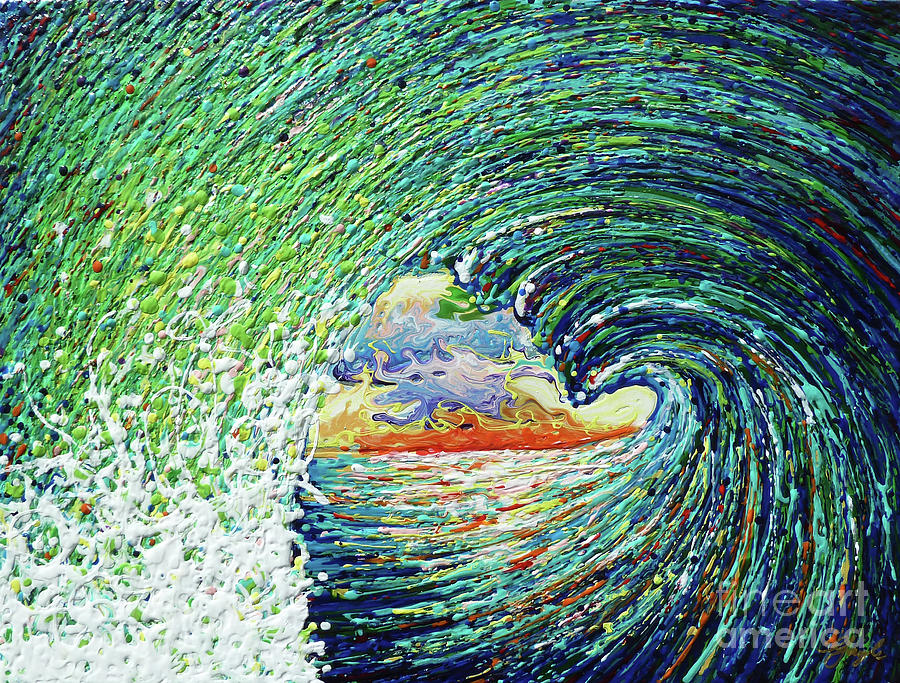 Surf Painting - Blue Pipeline by Gayle Utter