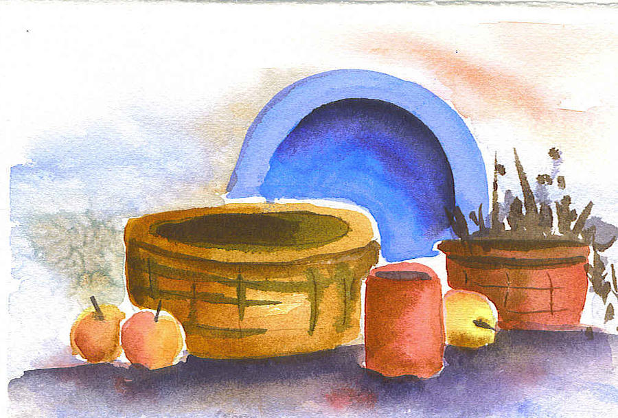 Still Life Painting - Blue Plate And Basket by Ruth Bevan