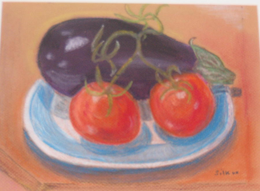 Eggplant Painting - Blue Plate by Samuel Silk