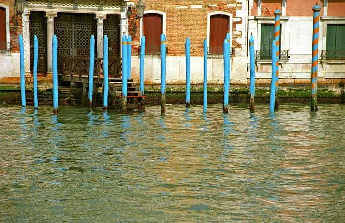 Venice Photograph - Blue Poles in Venice by Michael Henderson