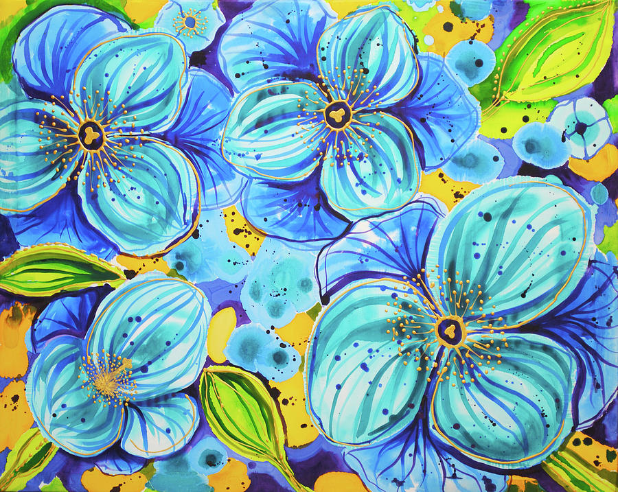 Blue Poppies 5 Belize Painting