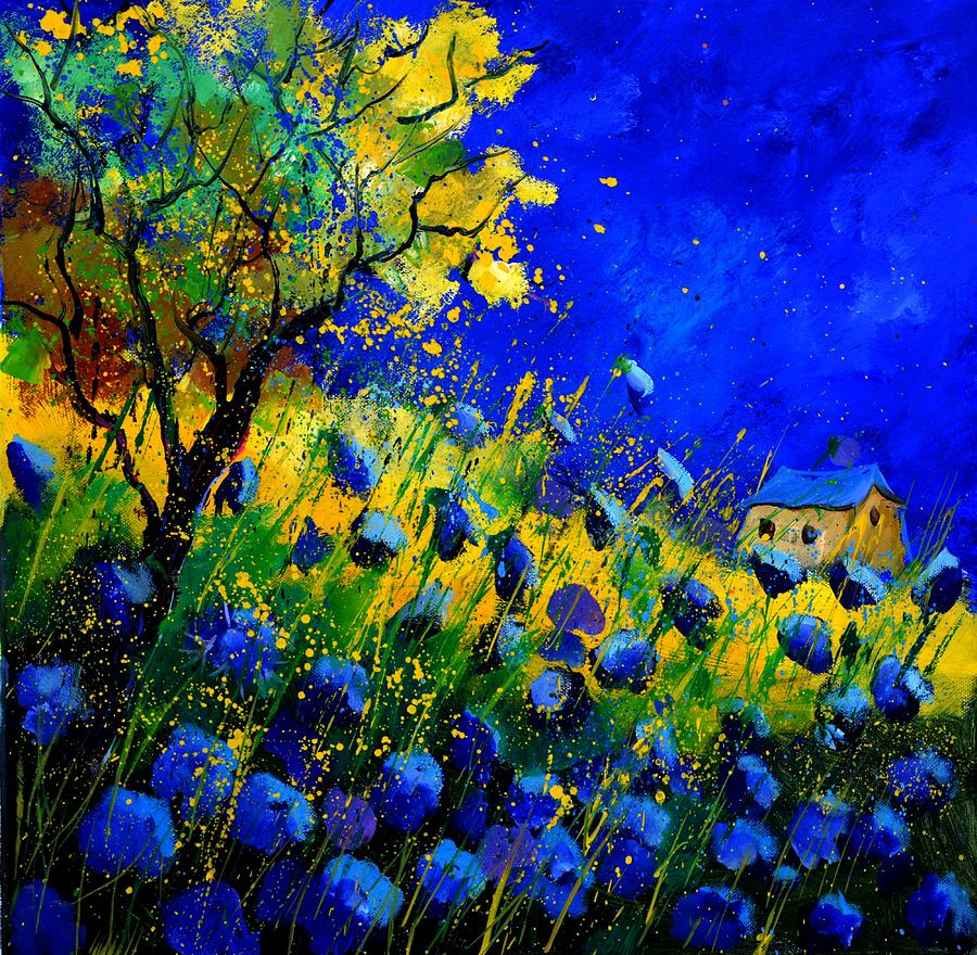 Blue poppies 556130 painting by pol ledent for Blue paintings on canvas