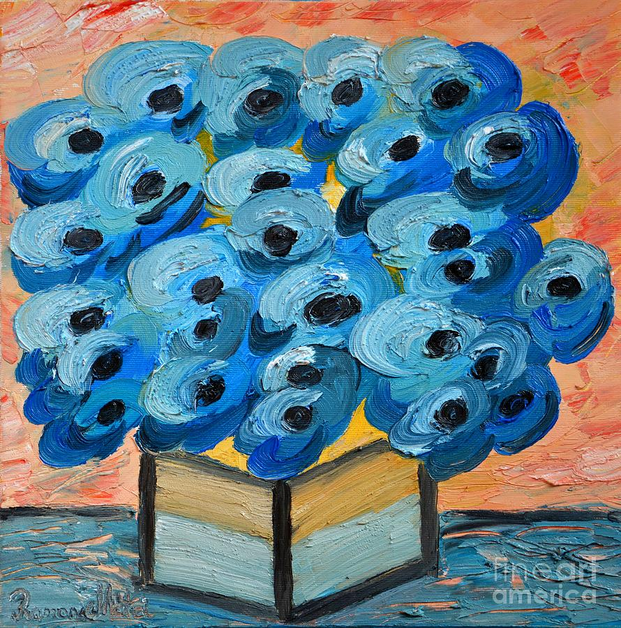 Blue Poppies Painting - Blue Poppies In Square Vase  by Ramona Matei
