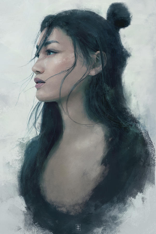 Warrioress Painting - Blue Portrait by Eve Ventrue