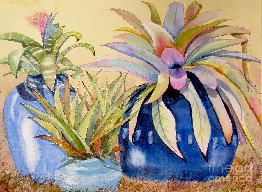 Succulents Painting - Blue Pots by Midge Pippel