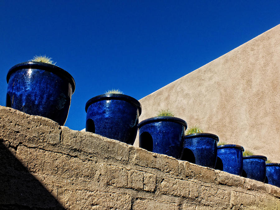 Windows Photograph - Blue Pottery On Wall by Lucinda Walter