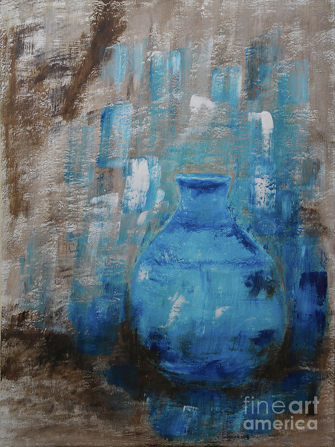 Artistic Painting - Blue Pottery Vase Painting by Catalina Walker